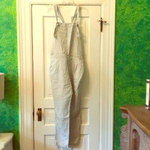 New ZARA Pinstripe linen overalls romper jumpsuit